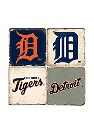 Studio Vertu Set of 4 Tigers Logoed Tumbled Marble Coasters with Stand