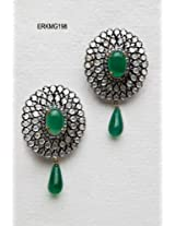 Polki Rich Pure Green Onyx Earrings