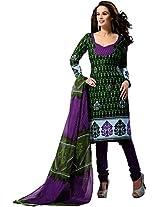Suryajyoti Women's Cotton Dress Material (Green_Free Size)