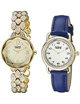 Burgi Women's BUR133YG Analog Display Japanese Quartz Blue Watch Set
