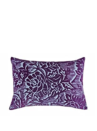 Kevin O'Brien Studio Hand-Painted Devore Cotton Velvet Woodcut Blossom Pillow