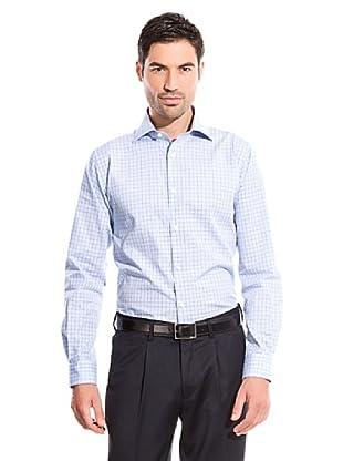 Cortefiel Camisa Cuadro Medio (Azul Claro)