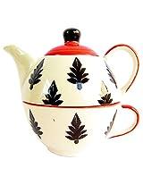 Awadhcrafts Ceramic Tea Pot and Cup (12.5 cms x 10 cms x 7.5 cms, 400 ml)