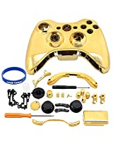 Super Custom Replacement Wireless Game Controller Shell Case Cover Kit For Xbox 360 Includes Button Set, Torx & Phillips Head Screwdrivers (Gold)