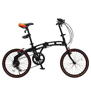 DOPPELGANGER(ドッペルギャンガー) 202 blackmax 20インチ アルミフレーム 折りたたみ自転車 シマノ6段変速 LEDライト/ワイヤーロック標準装備