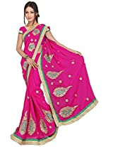 Chinco Embroidered Saree With Blouse Piece (1105-D_Pink)