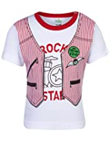 Babyhug Half Sleeves T-Shirt Red - Rock Star Print