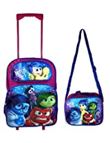 """Disney Inside Out """"Joy, Anger, Sadness, and Digust"""" Rolling Luggage Back to School Backpack with Lunch Bag"""