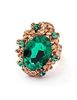 Cinderella Collection by Shining Diva Green & Golden CZ Ring for Women 7105r