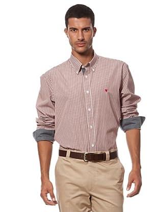 Caramelo Camisa Botones Contraste (burdeos)