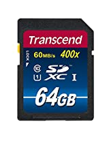 Transcend 64GB SDXC Class 10 UHS-1 Flash Memory Card Up to 60MB/s (TS64GSDU1PE)