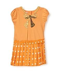 Beetlejuice Girl's 2T-6X Buttercream Drop Waist Pleated Dress (Orange)