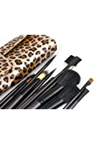 12 Kit Make Up,Cosmetic Brushes Set Essential Brushes With Leopard-Print Bag