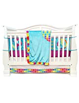 One Grace Place Terrific Tie Dye Infant Crib Bedding Set, Aqua Blue/Royal Blue/Purple, 4 Piece