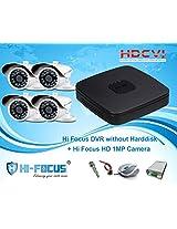 Hi Focus 8 CH 720P HDCVI DVR, 4 Pc 1.0 MP Bullet CCTV HDCVI Security Camera System Outdoor use