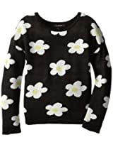 My Michelle Big Girls' Drop Shoulder Sweater with All Over Daisy Pattern, Black/Black, X-Large