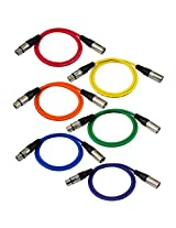 GLS Audio 3ft Patch Cable Cords - XLR Male To XLR Female Color Cables - 3 Balanced Snake Cord - 6 PACK
