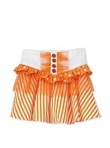 Beetlejuice London Girl's Buttercream Button Front Skirt with Polka Dot & Tulle Frill (Orange/White)