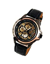 ESS Men's Rose Gold Skeleton Black Leather Hand-Wind Up Mechanical Watch WM267