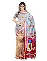 B3Fashion Elegant Bengal Handloom Brownish grey colored soft & comfortable cotton blended silk Partywear Saree