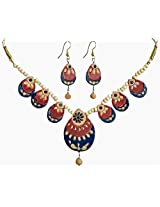 DollsofIndia Hand Painted Green with Rust and Beige Terracotta Nacklace and Earrings - Terracotta - Green, Brown