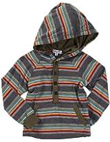 Splendid Bronx Stripe Raglan Hoodie - Charcoal/Olive-4-5