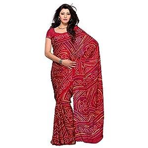Sareez House Stylish Red Pure Crepe Bandhej Saree