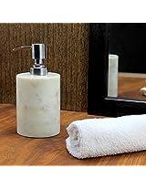 KLEO Soap/ Lotion Dispenser - Made of Genuine Natural Multicolor Stone in White Color - Luxury Bathroom Accessories Bath Set