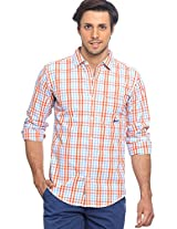Checks Orange Casual Shirt