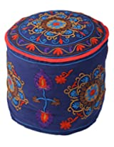 Exclusive Ottoman Blue Cotton Floral Embroidered Pouf Cover By Rajrang