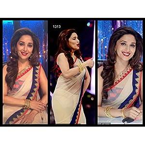 Madhuri Dixit white net bollywood sarees