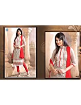 New Arrival Red With White Designe Anarkali Suit