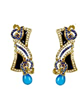 Kshitij Jewels Gold Blue Metal Dangle & Drop Jewellery Set For Women (KJ 086)