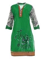 Artinic Hand Painted Women's Cotton Regular Fit Kurti (ARTK0056, Green, 46)
