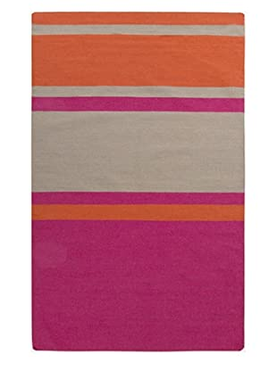 Surya Global Frontier Flatweave Rug (Ash Gray/Poppy/Hot Pink)