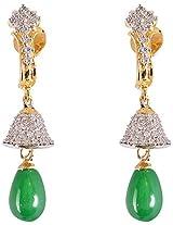 Glitz And You Green Droppings Gold Dangle & Drop Earring For Women (SSDGAY906)