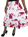 Indiatrendzs Women's White-Pink Floral Printed Cotton Skirt-Gypsy