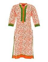 Vinorisa Girl's Cotton Regular Fit Kurti (Orange, X-Large)