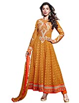 Anarkali Yellow Georgette Bollywood Mugdha Semi Stiched Salwar Suit VISPR-3553