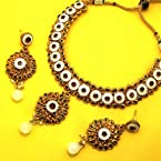 Designer polki necklace with meena finish pure white