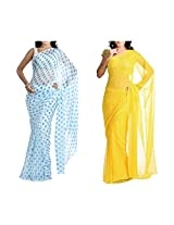 MemSahiba Women Semi-Chiffon Saree set of 2 (MS-1086-1048)