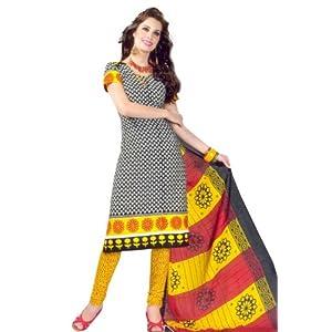 SGC V-8015 Black & Yellow Cotton Churidar Kameez