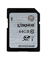 Kingston Digital SDXC Class 10 UHS-I 45R/10W Flash Memory Card (SD10VG2/64GB)