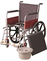 Vissco Invalid Wheel Chair with Commode and Mag Wheels - Universal (Regular)