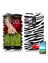 LG G2 (T-Mobile) 2 Piece Snap On Glossy Hard Plastic Case Cover Black Zebra Stripe Pattern White Cover + LCD Clear Screen Saver Protector