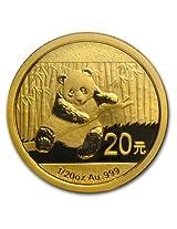 2014 China Panda Bear 1/20 oz .9999 pure Gold Coin