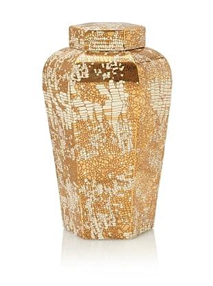 Kelly Hoppen Golden Tile Vase, Gold/White