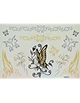 Spestyle Waterproof Tattoos Butterflies And Flowers Black And Silver And Golden Glitter Temporary Tattoo Stickers
