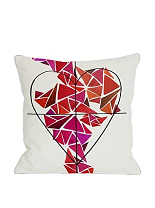 Oliver Gal by One Bella Casa Piece of My Heart Pillow, Ivory/Pink/Multi