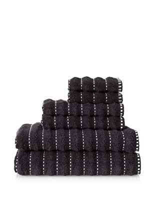 Famous International Stitches 6-Piece Towel Set (Black/White)